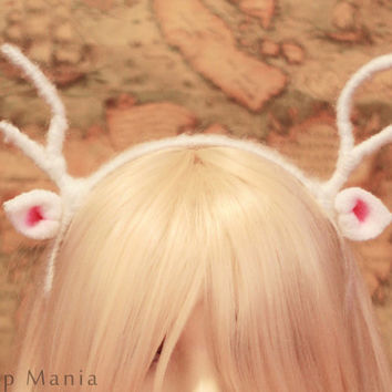 New Baby DEER reindeer white ANTLERS ears HEADBAND, wire inside twist-able, Cosplay Costumes Birthday party, forest style, Christmas gift