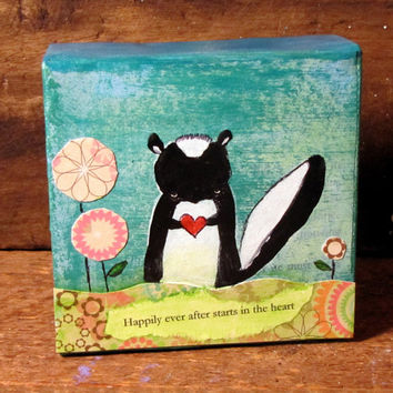 Skunk Painting Woodland Kids Wall Art, Original Mixed Media Painting, Childrens Decor