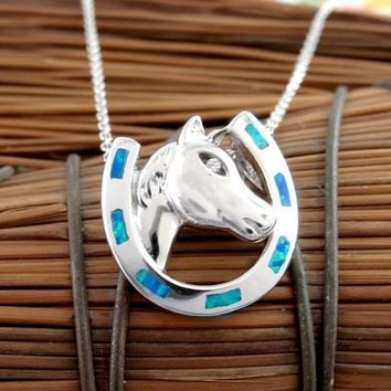 Handsome Horse Head and Horseshoe Necklace