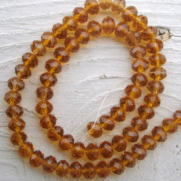 Swarovski Crystal Beads - Amber gold color, Rondelle 6x8mm beads, full strand, 70 beads,  Crystal beads,, jewelry supply, beads, add bling