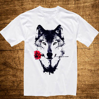 T shirt wolf and rose , T shirt Girl, T shirt Mens, Awesome T shirt, Funny T shirt