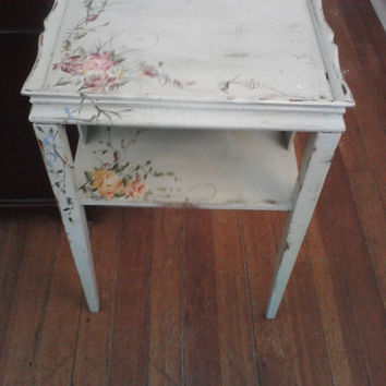 Vintage Shabby Chic Hand Painted Side Table By Shabbylilcottage