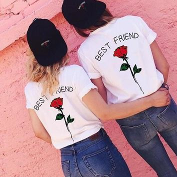 Red Monogram Best Friend Rose Print Plus Size Casual Valentine's Day Cute T-Shirt