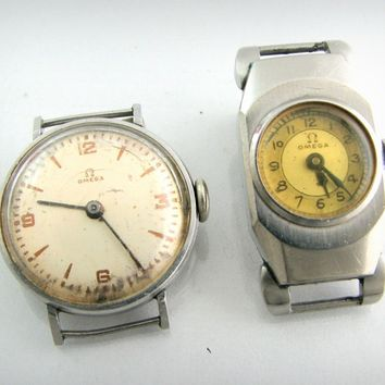 Vintage Watch Set...2 OMEGA's...Steel Case....circa 1939 & 1937...Project