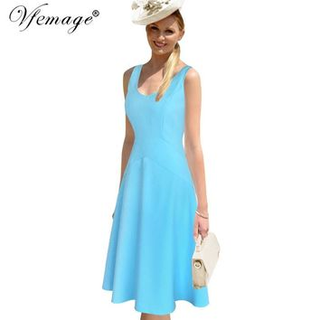 Vfemage Womens Elegant Vintage Summer Sexy Tunic Work Office Business Casual Party Fit and Flare Swing Skater A-Line Dress 6481