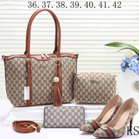 GUCCI 2018 new female counter models stylish four-piece Messenger bag F-KSPJ-BBDL brown