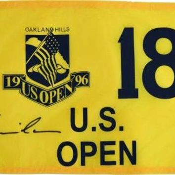 ONETOW Kevin Costner Signed Autographed Tin Cup 1996 US Open Oakland Hills Pin Flag (ASI COA)