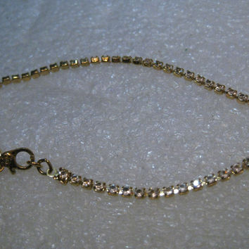 "Vintage Monet Rhinestone Bracelet, Clear, 7.5"", 2.1mm wide, Gold Tone"