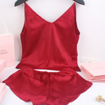 Sexy thin pajamas pajamas home suit TWO PIECE
