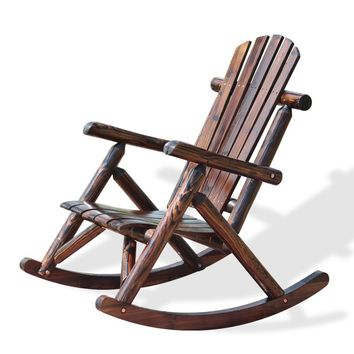 Outdoor Patio Adirondack Wood Bench Chair Rocking Chair Contemporary Solid Wood Log Deck Garden Furniture Single Rocker Chair