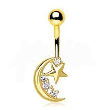 Gold Crescent Moon & Shinning Star Navel Ring