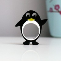Pierre Penguin the happiest plastic animal ring by Weaselfactory