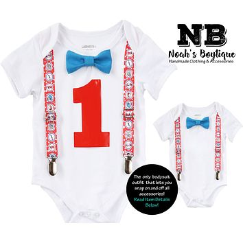 Dr. Seuss First Birthday Outfit Baby Boy Cat in the Hat Thing