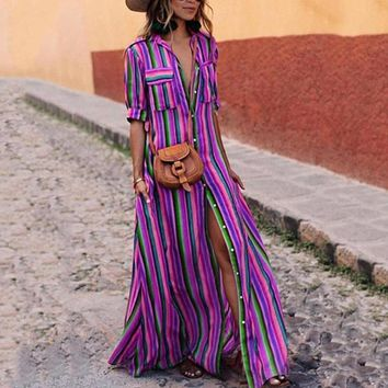 2019 New Sprint Striped Summer Turn-Down Collar Pocket Bohemian Long Maxi Split Dress Half Sleeve Vestido Colorful Beach Dress