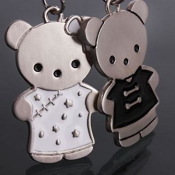 2PCS Lovely Double Bear Cute Metal Couples Lover New Charm Key Ring Chain Keyfob Wedding Birthday Valentine's Gift