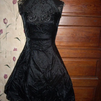 Gorgeous 80's Vintage Scott McClintock black velvet and lace mini  Cocktail Party dress sz 6