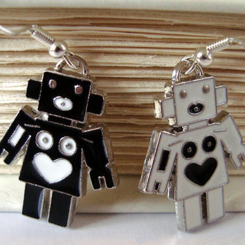 Retro Robot earrings by AshleysCharm on Etsy