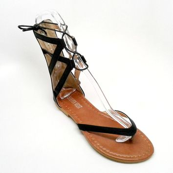 Black Vegan Leather Sandal with Tall Straps