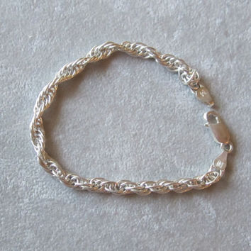 Italian Sterling Silver French Rope Chain Bracelet Made by Milor