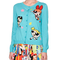 Powerpuff Girls Button-Front Cardigan, Light Blue