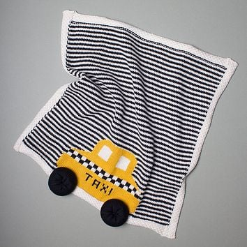 """Estella Striped Organic Cotton Lovey or Baby Blanket - Yellow Taxi 14"""" x 14"""""""