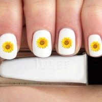 Realistic Yellow Sunflower Flower Nail Decals-24 ct.