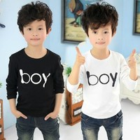 New Baby Boy Korean Letters Printed Long Sleeve Crewneck Kids Tops T-shirt Tees