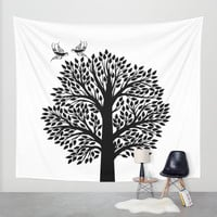 Black and White Tree Wall Tapestry by Haroulita