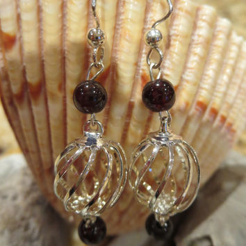 Garnet Sterling Silver Bird Cage Dangle Pierced Earrings Women Girls Elegant Bohemian Boho Chic