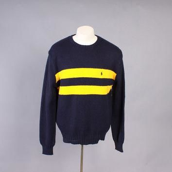 Vintage POLO SWEATER / 1990s Men's Ralph Lauren Navy Blue Gold Stripe Rugby Jumper M