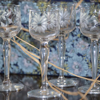 Vintage Etched Crystal Cordial Glass Gift Set, Etched Sunflower Pattern, Awesome Wedding Gift!