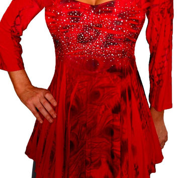 Funfash Plus Size Red Top Rhinestones Empire Waist Long Sleeves Womens