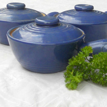 Rustic Blue Earthenware Covered Soup Crocks, Set of 3, Vintage, Rustic Decor, Bean Pot, Farmhouse, Autumn Decor,