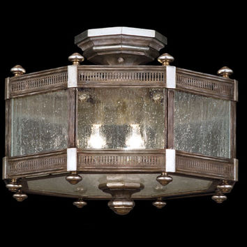 Fine Art Lamps 809240ST Villa Vista Three-Light Semi-Flush Mount in Hand Painted Driftwood Finish On Metal with Silver Leafed Accents