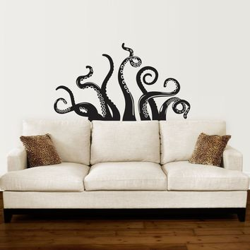 Octopus Tentacle Decal - Living Room Decor - Octopus Wall Sticker