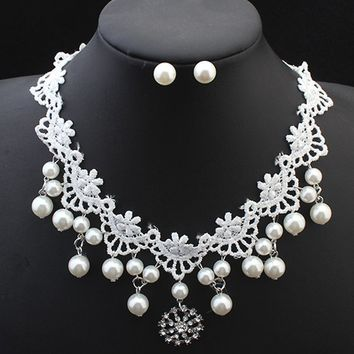 Streetstyle  Casual Fuax Pearl Lace Choker And Earring