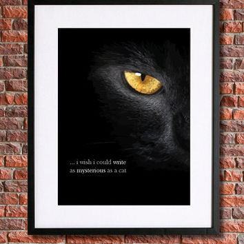 "Edgar Allan Poe Poster Art | 8x10 Instant Download Printable | Poe Poetry Literary Quote | ""...i wish i could write as mysterious as a cat"""