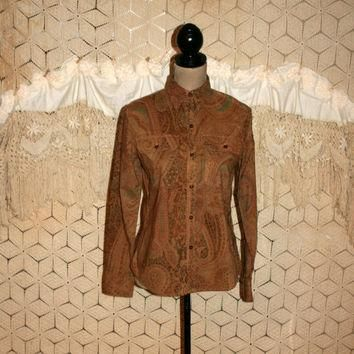 Hippie Shirt Small Petite Brown Paisley Long Sleeve Button Up Casual Cotton Blouse Hip