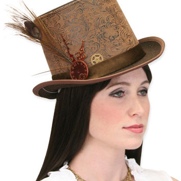 Steampunk Top Hat - Brown Faux Leather