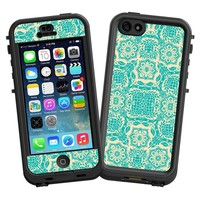 "Blue on Cream Floral Damask ""Protective Decal Skin"" for LifeProof nuud iPhone 5 Case"
