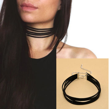 Harajuku 90's Black Velvet Choker Necklace 5 layers Goth Gothic Handmade Ribbon Collar Necklaces Retro Burlesque—â€?Christmas Gift