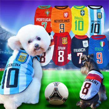 8 Country World Cup Soccer Jersey For Dog Cool Breathable Dog Vests Puppy Outdoor Spor