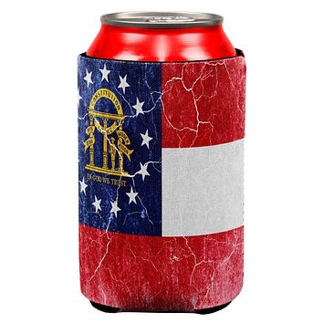 Georgia Vintage Distressed State Flag All Over Can Cooler