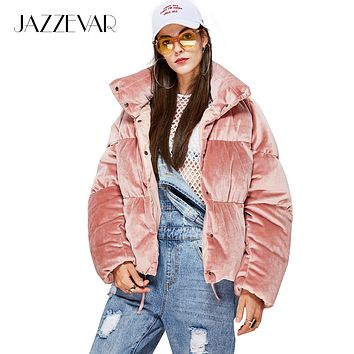 JAZZEVAR New Winter Fashion Woman thick 90% down Jacket velvet MINI Parkas pink sweet Coat cute girl's Warm Outwear