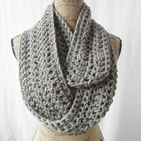 Ready To Ship The Boston Medium Grey Gray Crochet Infinity Scarf Cowl Chunky Neck Warmer