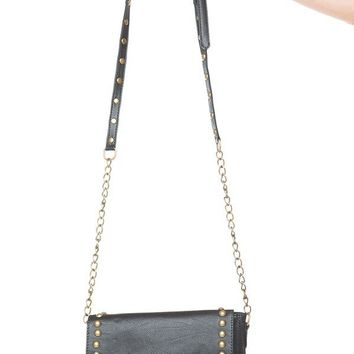 Brandy ♥ Melville |  Leather Stud and Chain Crossbody - Purses - Bags - Accessories