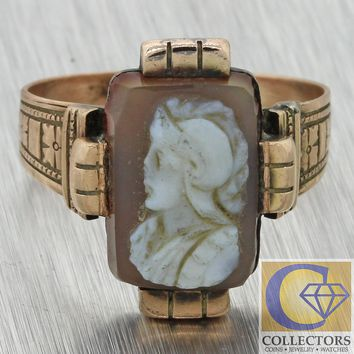 1880s Antique Victorian Estate Solid 10k Rose Gold Cameo Agate Cocktail Ring