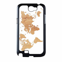 World Map On Wood Texture Print White Samsung Galaxy Note 2 Case