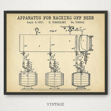 Beer Print, Print It Yourself, Apparatus For Racking off Beer, Beer Poster, Barrel Art, Bar Wall Art, Kitchen Decor, Vintage Blueprint Art