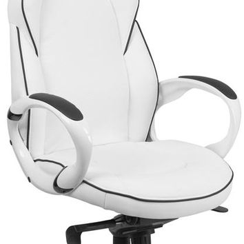 High Back White Vinyl Executive Swivel Office Chair with Black Trim and Arms [CH-CX0496H01-GG]